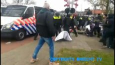 Barneveld (Netherlands), how the people broke through the riot police. all credit for defends!